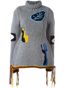 hand-knitted embroidered jumper