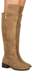 Bota over the knee camel com z�per lateral camur�a Taquilla