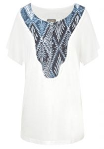 Blusa decote estampado Tantan - off white