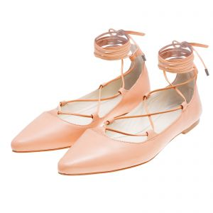 Sapatilha lace up Vinci Shoes - nude