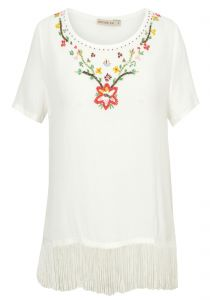 Blusa crepe bordado Costume - off white