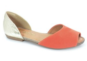 Sapatilha Peep Toe Dakota Tangerina Ouro Light - Z1461
