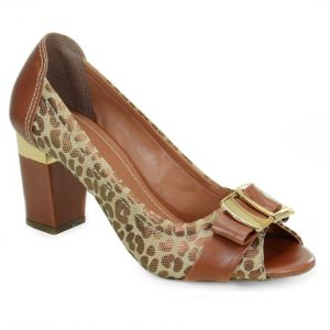 Peep Toe Fort Cal�ados Caramelo On�a - 6051-S