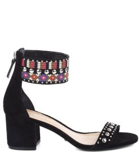 SAND�LIA EMBROIDED COLORS BLACK SCHUTZ