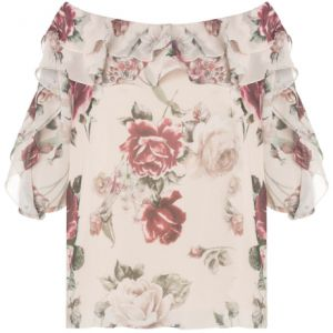 AM�SSIMA - BLUSA CHIFFON ESTAMPA FLORAL OMBRO A OMBRO BABAD