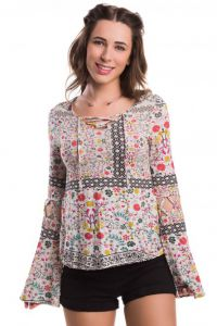 Blusa Strappy Lembran�as estampada