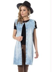 Maxi Colete Jeans Azul Miss Masy