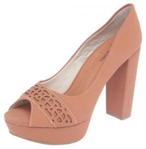 Peep Toe DAFITI SHOES Meia-Pata Caramelo DAFITI SHOES