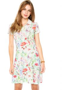Vestido Polo Curto Malwee Floral Off-White Malwee
