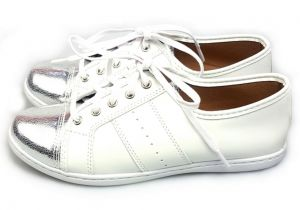 Tênis Love Shoes Flat Form Ponteira Prata com Branco Love S