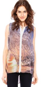 Camisa Shop 126 Abstrata Laranja/Azul Shop 126