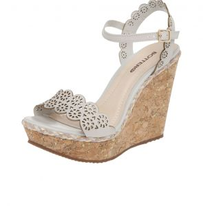 Sand�lia Couro Bottero Lasercut Metalic Off-White Bottero