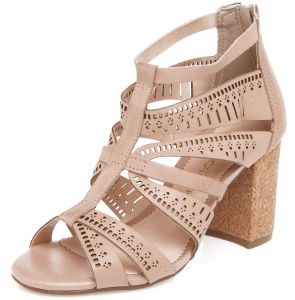 Sand�lia Couro Bottero Lasercut Stripes Nude Bottero