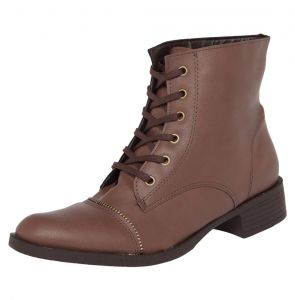 Bota Coturno Foot Way Z�per Marrom Foot Way