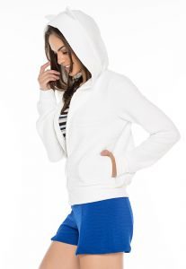 Moletom Dog Leg Bomber Capuz Branco Dog Leg