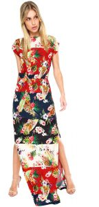 Vestido Lucy in The Sky Flores Vermelho/Off-White Lucy in T