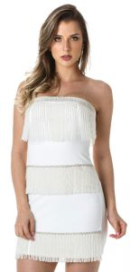 Vestido Richini Franjas Reveillon Off White Richini