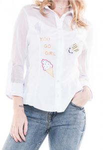 Camisa PoemaHit Tricoline Bordada Off-White Poema Hit