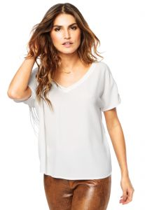 Blusa Shoulder Crepe Franja Off-White