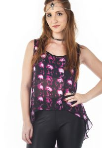 Blusa Cropped Up2Date Mullet Caveiras Rosas Preto Up2Date