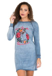 Vestido Estampado Escaramu�a Horses and Roses Azul Escaramu