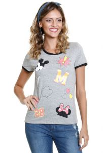 Blusa feminina estampa Mickey e Minnie Disney