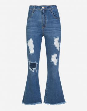 CALÇA JEANS CROPPED FLARE DESTROYED AMARO