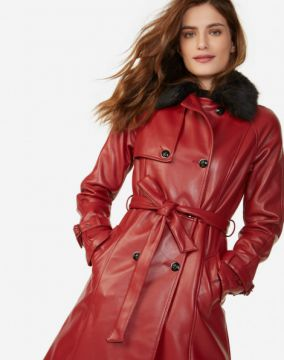 TRENCH COAT LEATHER COM GOLA FUR AMARO
