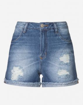 SHORT JEANS CINTURA ALTA DESTROYED AMARO