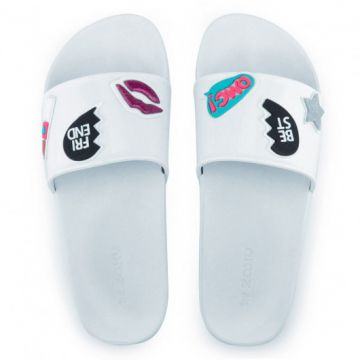 Chinelo Slide Zaxy Snap - 17333 - Branco-patches