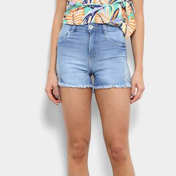 Short Jeans Biotipo Hot Pants Bordado Feminino - Feminino-Je