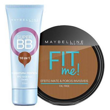 Kit Maybelline Super BB Cream Cor Escuro 30ml + Pó Compacto