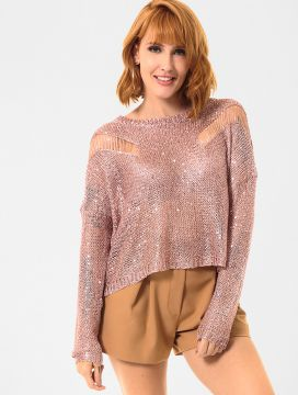Blusa Tricot Glamour Collection Paetê Rose