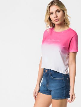 Blusa CKJ Spray Degradê Logo Frontal Rosa Pink