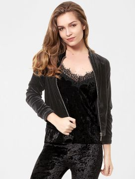 Jaqueta Glamour Collection Bomber Veludo Preto