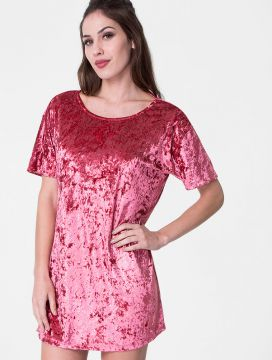 Vestido Glamour Collection Decote Costas Veludo Rosa