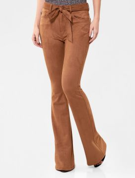 Calça Ellus Super High Flare Camel