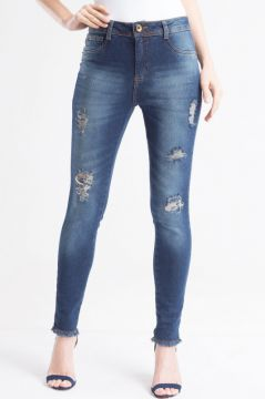 Calça Jeans Cropped Destroyed - Miroa