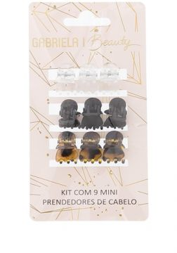 Kit Nove Mini Prendedores De Cabelo Gabriela Beauty Color