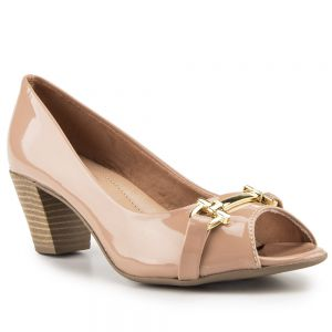Peep Toe Summer com Fivela Verniz Antique