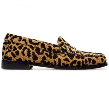 Leopard Print Fabric Flat Loafers  - Re/done
