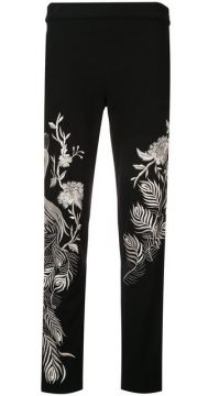 Slim Embroidered Trousers - Josie Natori