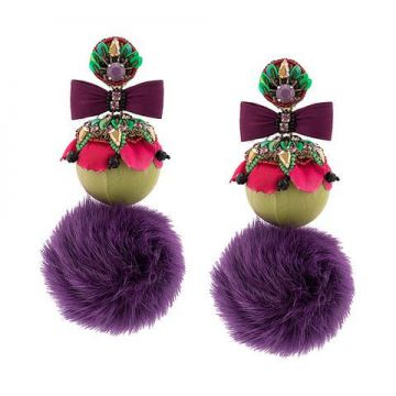 Oversized Fur Pom Pom Earrings - Ranjana Khan 014502cd9d3