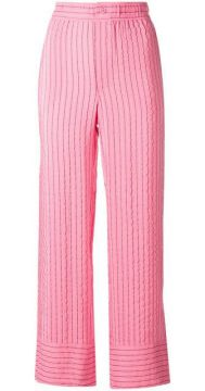 Striped Cropped Trousers  - Ganni