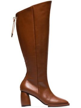 Brown Square Toe 90 Leather Knee High Boots - Reike Nen