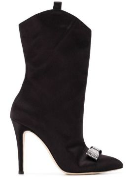 Embellished Bow Boots - Alessandra Rich