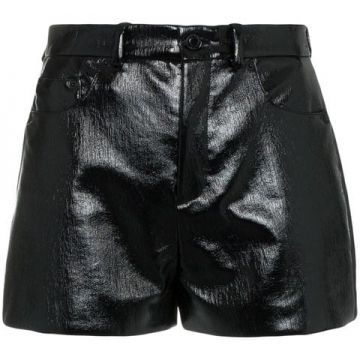 Short Cintura Alta De Vinil - Saint Laurent