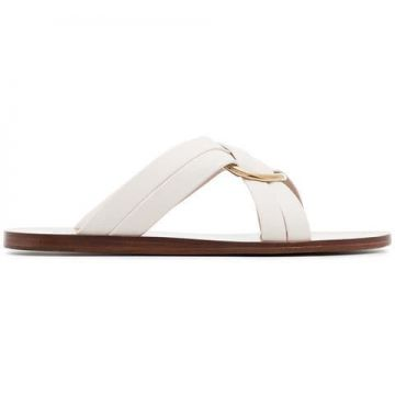 White Ring Embellished Leather Slides - Chloé