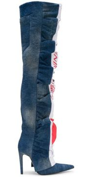 Ruched Denim Over The Knee Boots - Diesel Red Tag