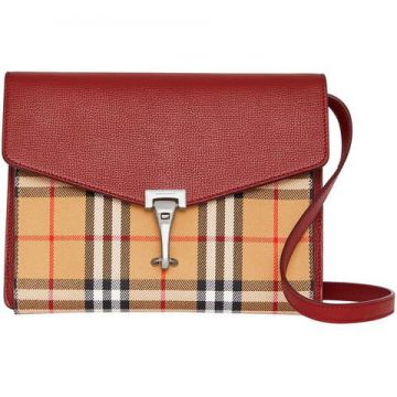 Small Vintage Check And Leather Crossbody Bag - Burberry
